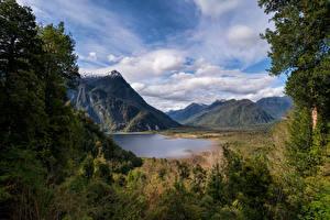 Фотография Чили Гора Озеро Облако Rio Negro Lake Природа