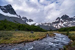 Картинки Чили Гора Река Облако Cerro Castillo Природа