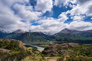 Фото Чили Горы Небо Облака Aysen Природа