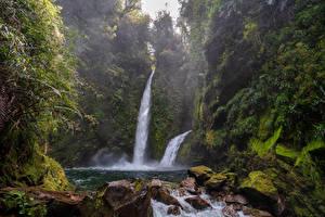 Обои Чили Водопады Камни Мох Chaiten Природа