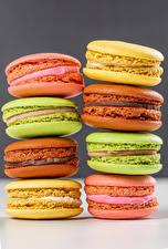 Фотография Крупным планом Макарон Разноцветные Еда