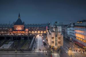 Картинка Дания Копенгаген Здания Вечер Улица HDR город