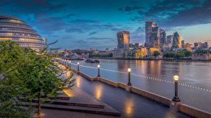 Фотография Англия Речка Рассвет и закат Здания Утро Лондоне Набережная Thames
