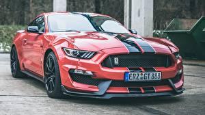 Обои для рабочего стола Форд Красная Полосатая Shelby Mustang GT350 Автомобили