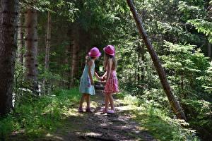 Картинки Лес Тропы Двое Шляпа Платье Девочки Дети