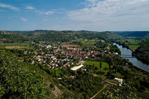 Обои Франция Реки Дома Холмов Сверху Cajarc Природа