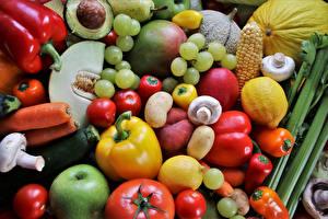 Фотография Фрукты Овощи Виноград Томаты Перец Морковь Лимоны Грибы Картошка