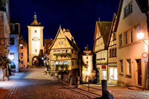 Фото Германия Здания Ночные Улице Фонари Rothenburg