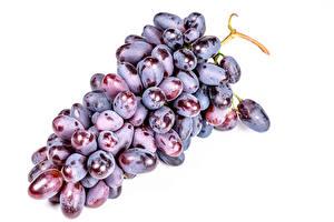 Картинка Виноград Крупным планом Белом фоне Еда