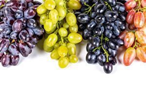 Фотографии Виноград Крупным планом Белым фоном Разноцветные Еда