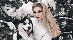 Картинка Блондинка Блондинки Хаски Макияж Мейкап Anton Kharisov, Anastasia Fogler девушка Животные