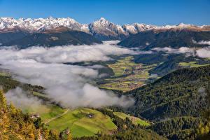 Картинки Италия Горы Альпы Долина Облака Сверху Antholz Valley