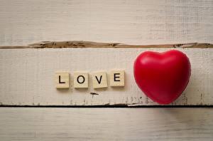 Обои для рабочего стола Любовь Сердечко Слово - Надпись Английский Доски