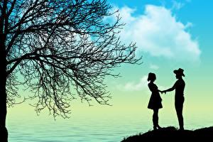 Картинки Любовь Силуэта 2 Свидании Ветвь