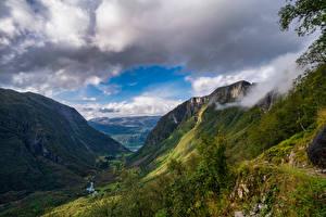 Фото Норвегия Гора Парк Облака Долина Folgefonna National Park Природа