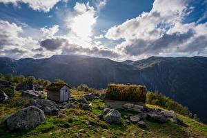 Фотография Норвегия Гора Парк Камень Облачно Folgefonna National Park Природа