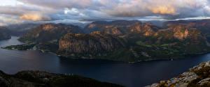 Обои Норвегия Гора Заливы Мох Облака Rogaland