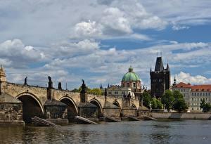 Обои Прага Чехия Мост Река Карлов мост Vltava Города