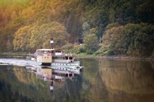 Картинка Винтаж Речка Речные суда Steamboat Природа