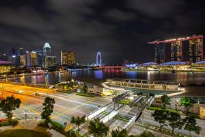 Фотографии Сингапур Дома Дороги Ночь Залив