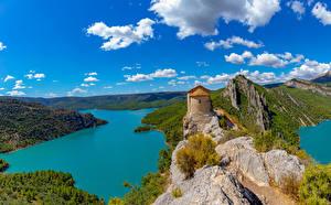 Фото Испания Замки Реки Утес Холмов Pertusa