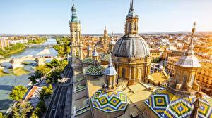 Обои Испания Собор Здания Реки Купол Сверху Catedral-Basílica de Nuestra Señora del Pilar город