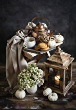 Фотография Натюрморт Тыква Гортензия Свечи Чайник Кофе Печенье Чашка Продукты питания