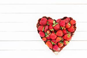 Фотография Клубника Сердечко Шаблон поздравительной открытки Еда