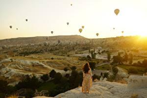 Фото Рассвет и закат Турция Воздушный шар Холмов Cappadocia Природа