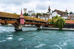 Фотография Швейцария Здания Озеро Мост Волны Lucerne Города