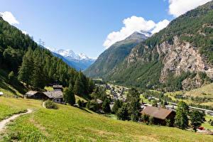 Фотография Швейцария Здания Гора Леса Альпы Поселок Долина village Randa Города