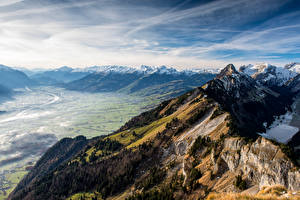 Фото Швейцария Горы Альпы Долина Скала Hoher Kasten Природа