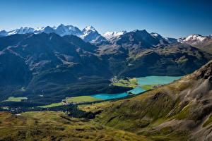 Фотографии Швейцария Гора Озеро Альпы Graubünden Природа