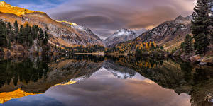 Фотографии Швейцария Гора Озеро Осенние Дерево Отражении Lägh da Cavloc Природа