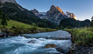 Картинка Швейцария Гора Реки Камни Альпы Rosenlaui Природа