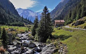 Картинка Швейцария Горы Камни Альпы Ручей Природа