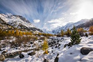Картинка Швейцария Гора Камни Пейзаж Альпы Снега Morteratsch Природа