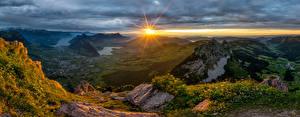 Фотография Швейцария Гора Рассвет и закат Альп Солнца Schwyz Природа