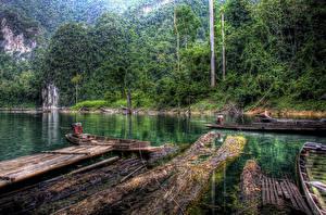 Картинка Таиланд Парк Лес Речка Пристань Лодки HDR Khao Sok National Park Природа