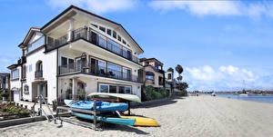 Фотографии Штаты Побережье Здания Лодки Калифорния Особняк Пляже Long Beach Города