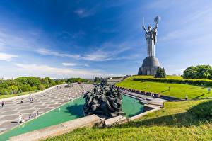 Картинка Украина Киев Скульптуры Небо Памятники Mother Homeland