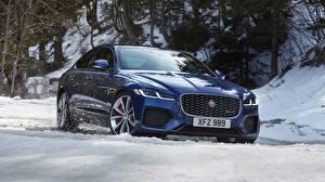 Фото Зима Jaguar Снег Синяя Кроссовер xf, p300, awd, r-dynamic автомобиль