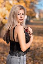 Обои Блондинки Взгляд Размытый фон Alessandra молодая женщина