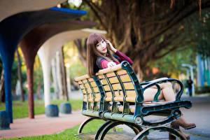 Картинка Азиатки Скамья Сидящие Смотрит Боке Шатенки девушка