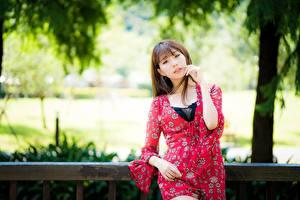 Обои Азиатка Боке Шатенки Смотрит Рука молодые женщины