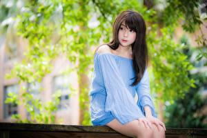 Фото Азиатка Боке Брюнетка Взгляд Рука Сидит молодые женщины
