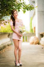 Обои Азиаты Букет Позирует Платья Ноги Взгляд Размытый фон молодые женщины