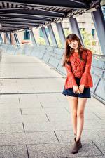 Фото Азиатки Шатенки Поза Юбка Блузка Взгляд молодые женщины