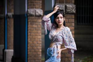 Фотографии Азиатки Брюнеток Блузка Поза Взгляд Девушки