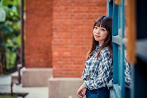 Фотографии Азиаты Рубашке Взгляд Боке молодые женщины
